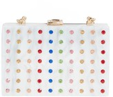 Milly Rhinestone Box Clutch - White