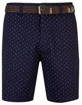 Burton Mens Navy Printed Belted Shorts
