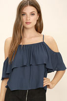 Lush Exquisite Beauty Washed Blue Top
