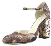 Bettye Muller Bejeweled Round Toe Canvas Heels.