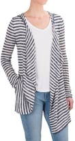 Workshop Republic Clothing Striped Hooded Cardigan Sweater - Open Front (For Women)