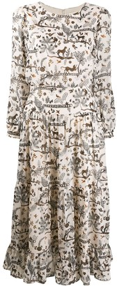 Saloni Animal Jungle Print Midi Dress