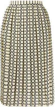 Plan C Geometric Midi Skirt