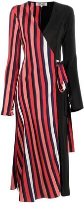Diane von Furstenberg Colour-Block Wrap Midi Dress