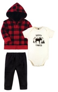 Hudson Baby Baby Boys and Girls 3 Piece Cotton Hoodie, Bodysuit and Pant Set