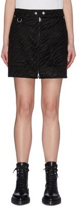 Rag & Bone/JEAN Zebra print patch pocket front zip biker skirt