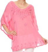 Sakkas VT200 - Valeray Nature Floral Embroidered Wide Long Poncho Tunic Blouse Shirt Top - OS