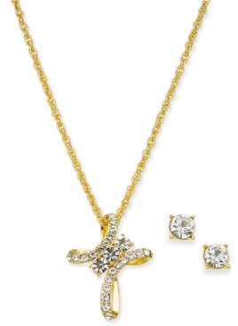 "Charter Club Gold-Tone Pave Crystal Cross Pendant Necklace & Stud Earrings Boxed Set, 17"" + 2"" extender, Created for Macy's"