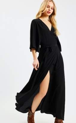 Traffic People Great Divide Black Maxi Wrap Dress - M - Black