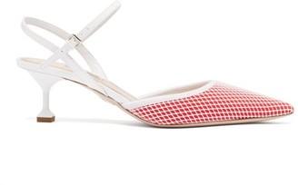 Miu Miu Mesh Patent-leather Slingback Kitten Heels - Womens - Red White