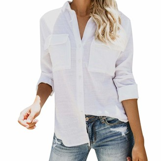 Lazzboy Womens Shirt Blouse Long Sleeve Cotton Linen Stand Collar Casual Solid Button Pocket Tops(M(10)