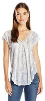 Lucky Brand Women's Inset Lace Top in Blue Natural