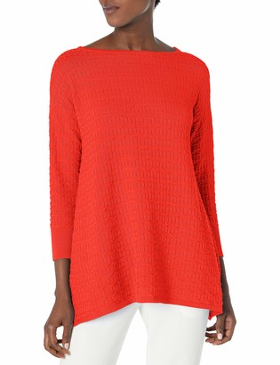 Chaus Women's 3/4 Sleeve Texture Stitch Pullover Sweater