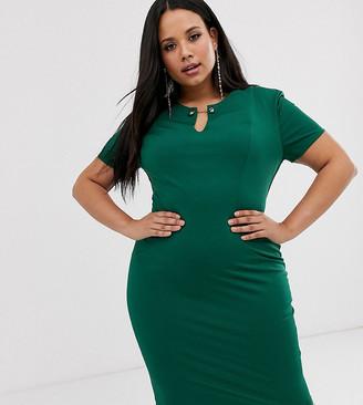 City Goddess Plus midi dress with bar detail-Green