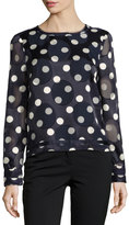 Pink Tartan Polka-Dot Long-Sleeve Crepe Blouse, Blue/White