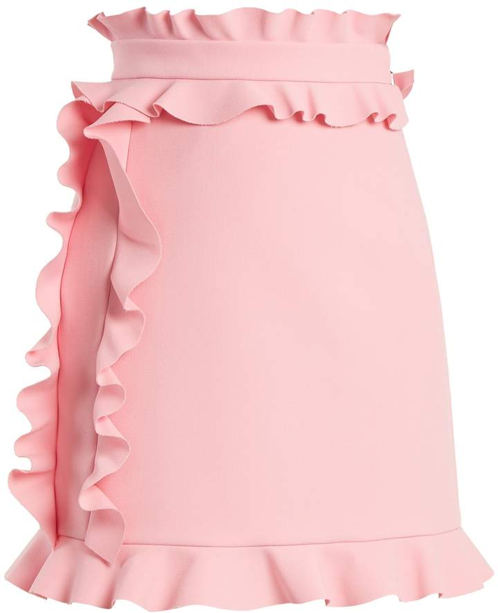 MSGM Ruffle-trimmed crepe mini skirt