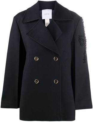 Patou Double-Breasted Embroidered Peacoat