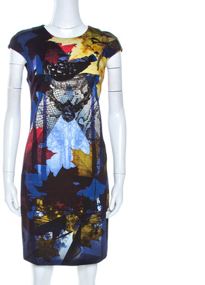 Just Cavalli Multicolor Printed Stretch Knit Sheath Dress M