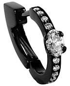 Repossi Harvest 18K Black Gold & Diamond Single Hoop Earring
