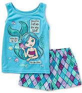 Komar Kids Little/Big Girls 4-16 Mermaid Tank & Printed Shorts Set