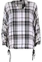 River Island Womens White check print split sleeve top