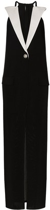 Balmain Contrast-Lapel Sleeveless Dress