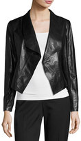 Lafayette 148 New York Leah Glazed Lambskin Cropped Jacket, Black