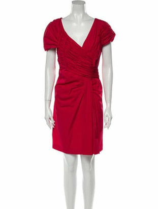Prada V-Neck Mini Dress Red