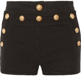 Balmain Button-detailed Stretch-denim Shorts - Black