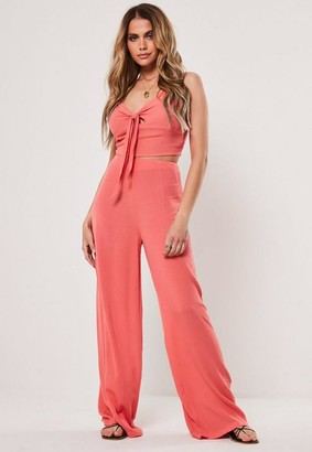 Missguided Coral Co Ord Cheesecloth Wide Leg Pants