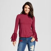 Xhilaration Women's Lace-Trim Bell Sleeve Knit Top Juniors')