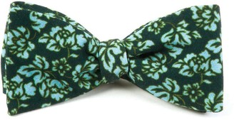 The Tie Bar Serpentine Floral Deep Green Teal Bow Tie