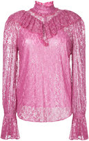 G.V.G.V. foiled lace ruffle high neck blouse