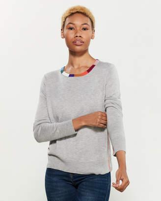 Margherita Splendid X Rainbow Trim Long Sleeve Pullover Sweater