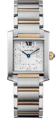 Cartier Tank Francaise Medium Stainless Steel, 18K Rose Gold & Diamond Bracelet Watch