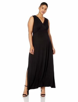 Motherhood Maternity Women's Maternity Plus-Size Sleeveless Surplice Maxi Dress with Waist Tie