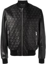 Versace studded embroidered triangle jacket - men - Cotton/Lamb Skin/Spandex/Elastane/Viscose - 50