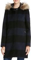 Woolrich Allgood Fur Trim Plaid Coat