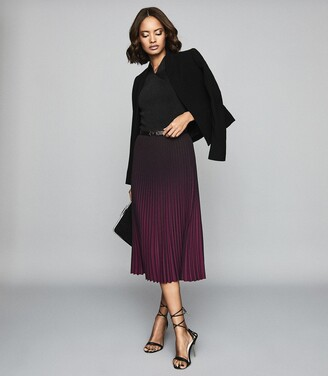 Reiss Marlie - Ombre Pleated Midi Skirt in Berry