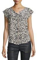 Joie Iva Leopard-Print Silk Cap-Sleeve Top