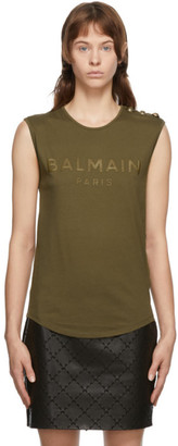 Balmain Khaki Three-Button Tank Top