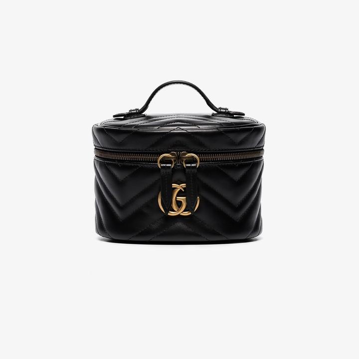 Gucci black GG Marmont mini leather makeup bag