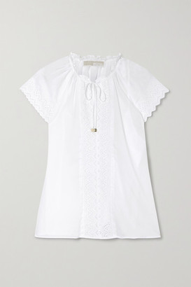 MICHAEL Michael Kors - Ruffled Broderie Anglaise-trimmed Cotton Top - White