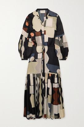 MUNTHE Emmanuel Tiered Printed Matte-satin Maxi Dress - Black
