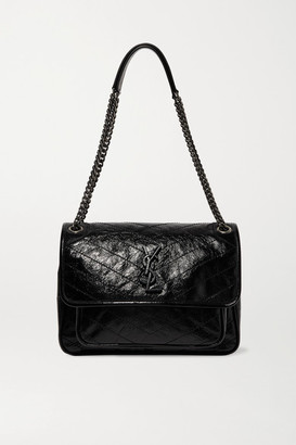 Saint Laurent Niki Medium Quilted Crinkled Patent-leather Shoulder Bag - Black