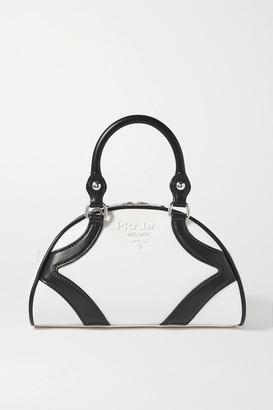 Prada Bowling Two-tone Leather Tote - White