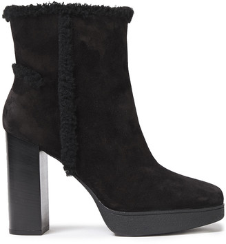 Tod's Shearling-trimmed Suede Platform Ankle Boots