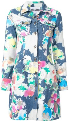 Moschino Painted Bleached Flowers Denim Dress