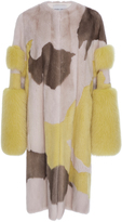 Prabal Gurung Cuff Sleeve Mink and Fox Fur Coat