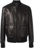 Neil Barrett pins leather bomber jacket - men - Lamb Skin/Polyamide/Spandex/Elastane/Cupro - S